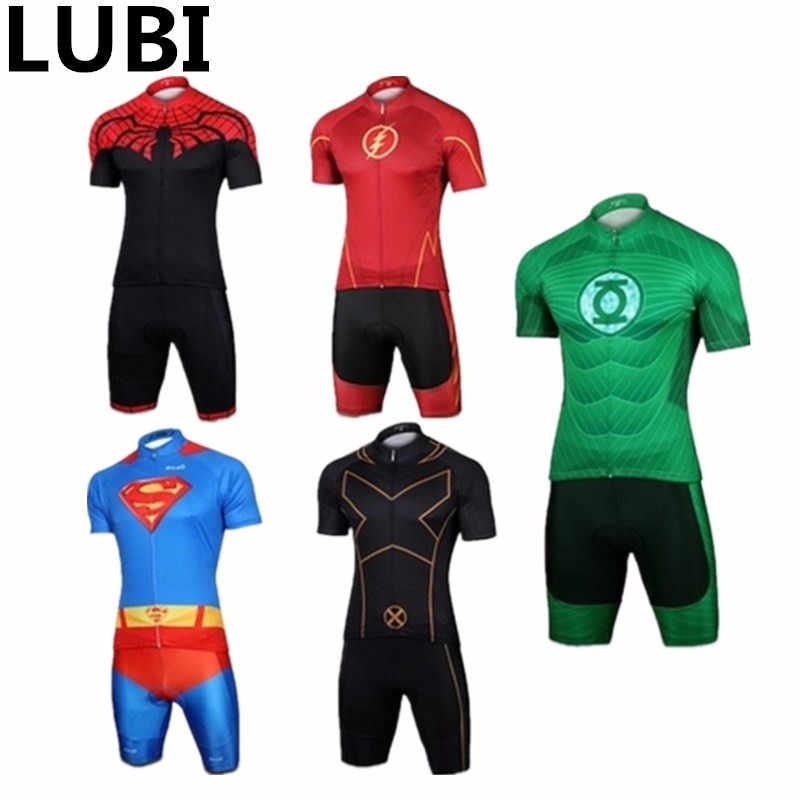 X-Men Green Lantern Spider Man Superman Cycling Set Jersey Summer Short  Sleeves Bike Clothing e0e200581