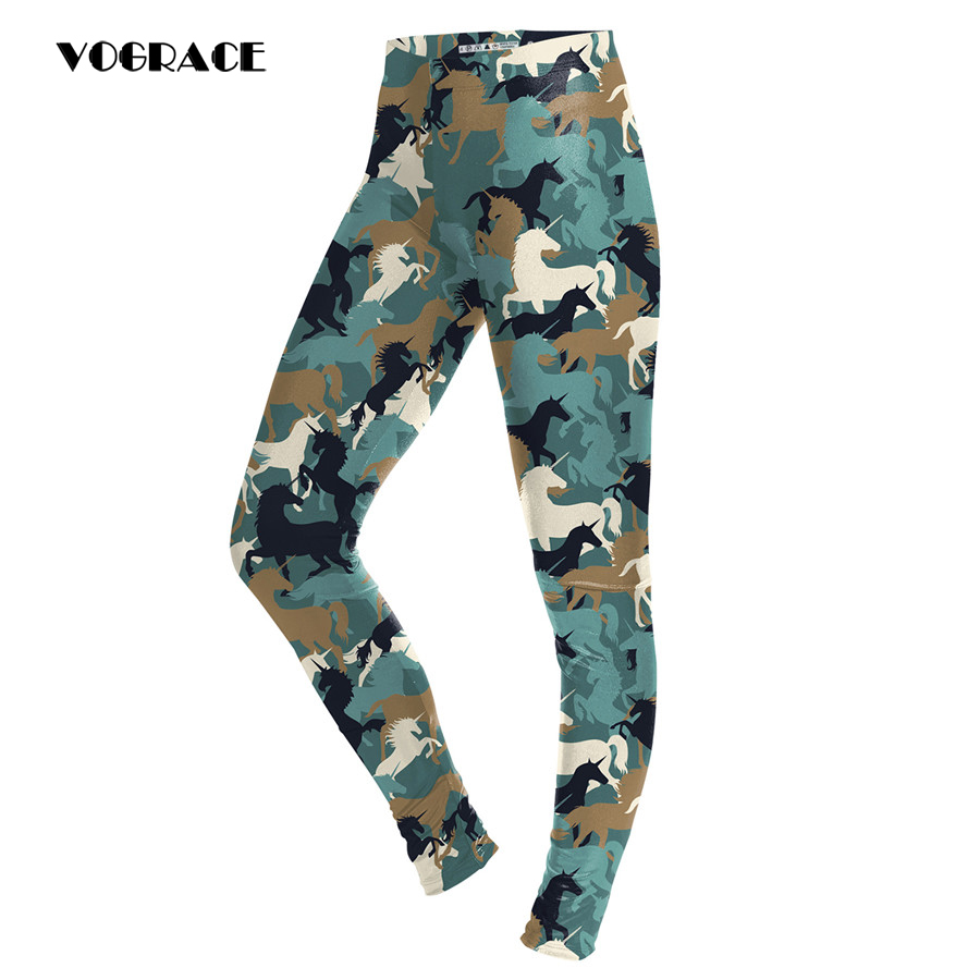 VOGRACE Brand Ladies Fashion Christmas Matching 3d Printing Striped Horse Battle Fatigues Trousers With High-Waisted Legs Couple