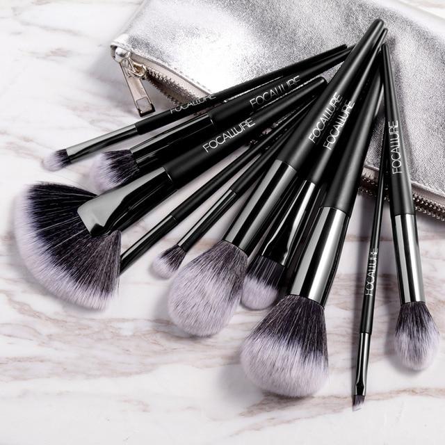 FOCALLURE 10 Pcs/Set Professional Makeup Brushes Kit with Eyeshadow Powder Brush Cosmetic Beautiful Make Up Brush Tools 1