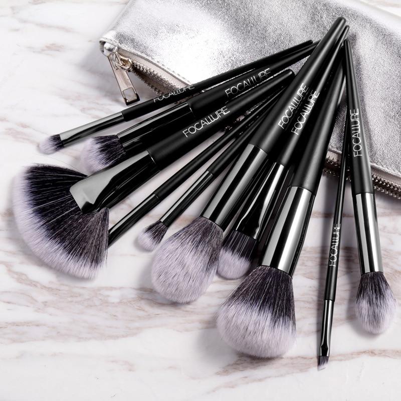 Focallure 10 pçs/set profissional maquiagem escovas kit com sombra em pó escova cosméticos bonito compõem escova ferramentas
