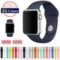38 MM 42 MM S/M M/L de Silicona Banda de Colores Con Adaptador de Conector para apple watch serie 1 serie 2 correa para deportes pulsera