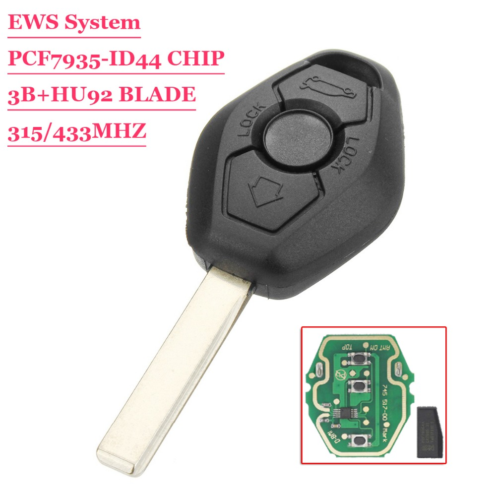 Free shipping(1 piece)Remote Car Key for BMW EWS System PCF7935 Chip 315MHz or 433MHz for X3 X5 Z3 Z4 1/3/5/7 Series HU92 Blade free shipping remote key horse head case hu49 blade for vw 15 piece lot