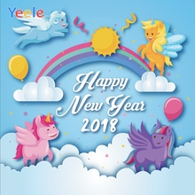 Yeele Unicorn New Year Photocall Rainbow Clouds Decor Photography Backdrop Personalized Photographic Background For Photo Studio