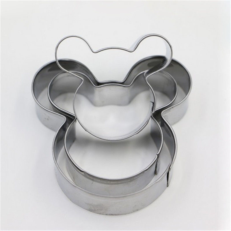 3PCS Lovely Cartoon Mickey Mouse Shape Metal Cookie Cutters DIY Baking Tools Fruit Fondant Mold Decorating Biscuit Cake Mould