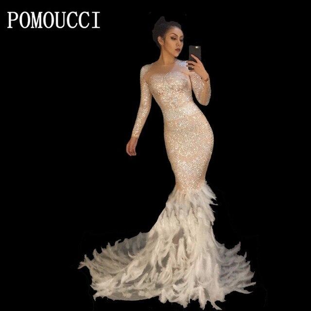 Big Feathered Prom Dresses