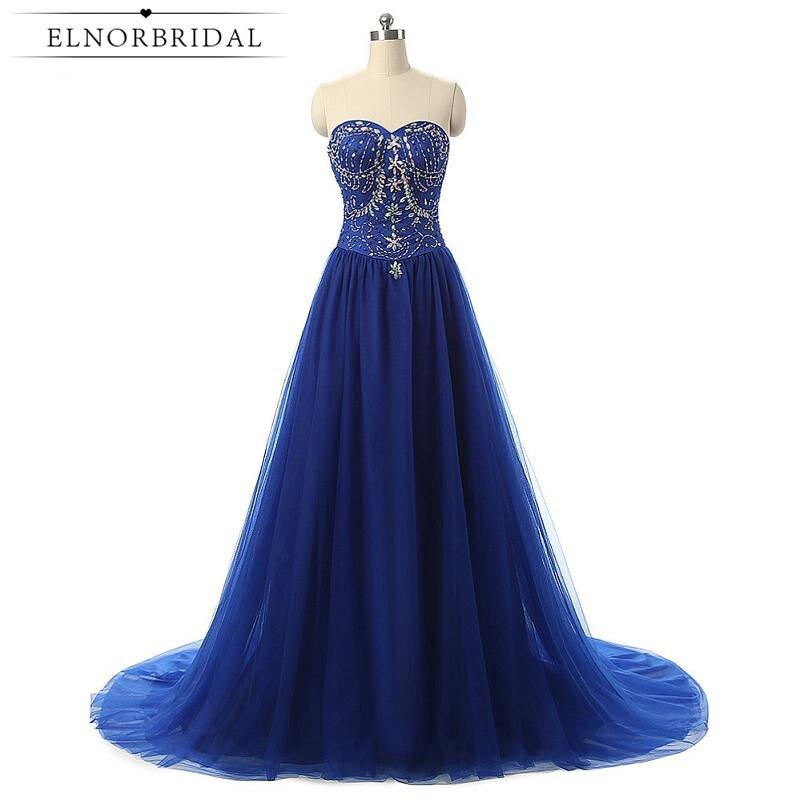 Royal Blue Prom Dresses Cheap 2017 Beading Sweetheart Robe De Bal A
