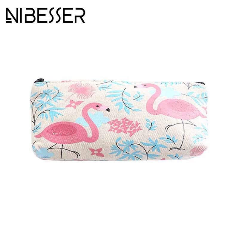 NIBESSER Flamingo Print Women Coin Purse Cartoon Girls Purse Money Bag Sweet Lady Minimalist Wallet Lovely Bag for Pen Pencil