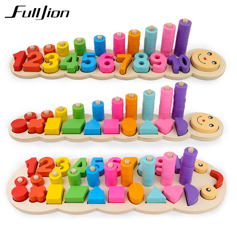 Fulljion Montessori Math Toys Children Wooden Montessori Puzzle Game Sensory Materials Jigsaw Learning Education Teaser Numbers