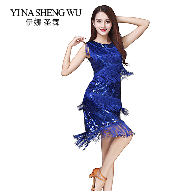 Latin Dance Dress Stage Performance Party Sequins Tassel Latin Skirt Woman Sleeveless Latin Cha Cha Samba Rumba Dance Costumes