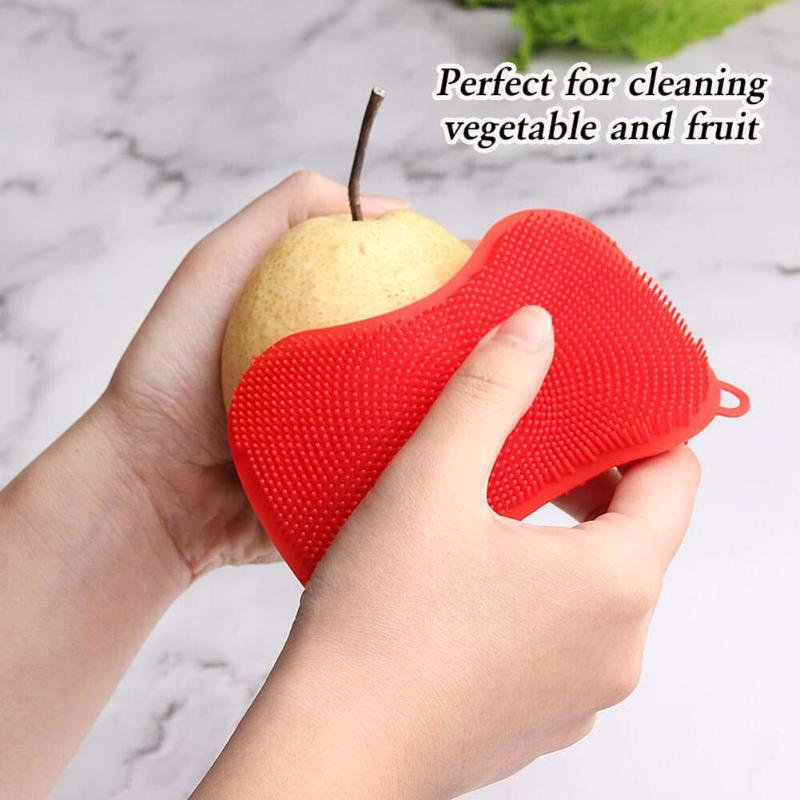 Image 4 - 4pcs Silicone Dish/Pot/Plate Washing Antibacterial Mildew Free  Brush Kitchen Household Cleaner Sponge ScrubberCleaning Brushes   -