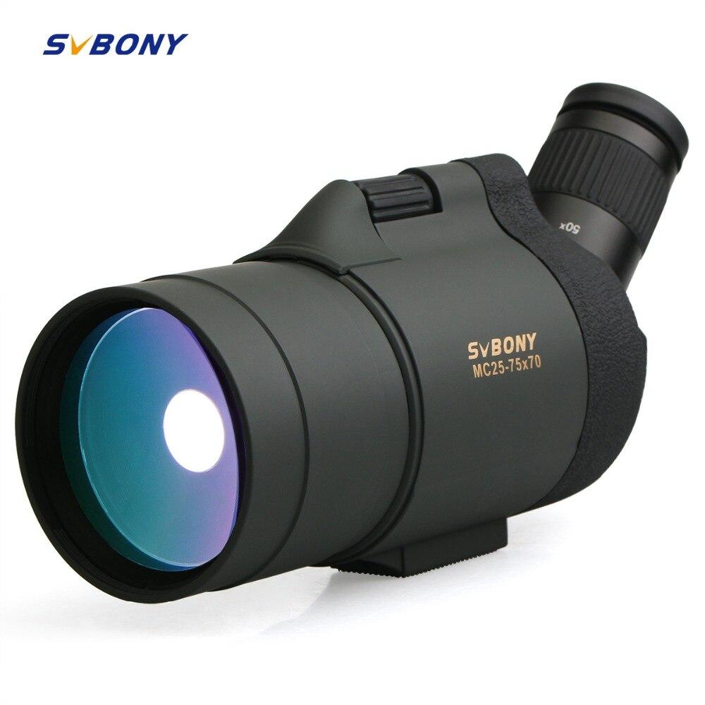 SVBONY 25-75x70 MAK Spotting Scope Télescope SV41 Réfraction Zoom Chasse Optique BAK4 Prisme Longue Portée Étanche w/Trépied F9334