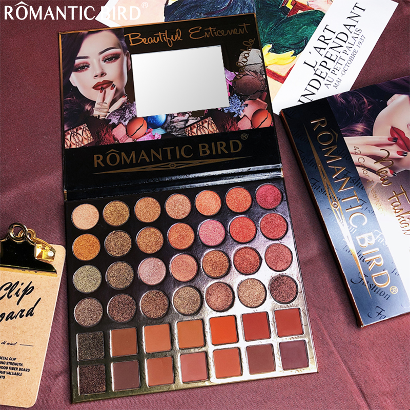 ROMANTIC BIRD Cosmetic eyeshadow palette 42 colors matte eyeshadow palette glitter eye shadow makeup nude makeup set Cosmetics in Eye Shadow from Beauty Health