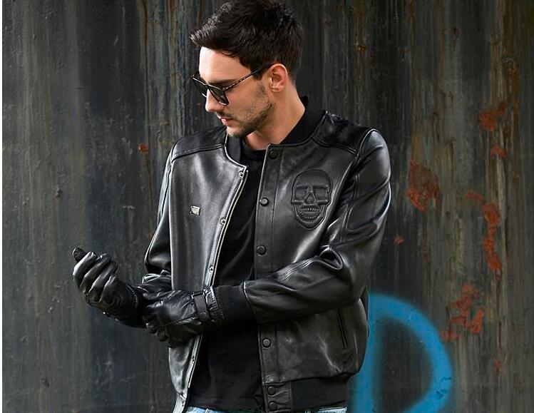 63de1601 100% saueskinn jakker, menns ekte sau skinnjakke, klassisk motor  biker.Brand baseball