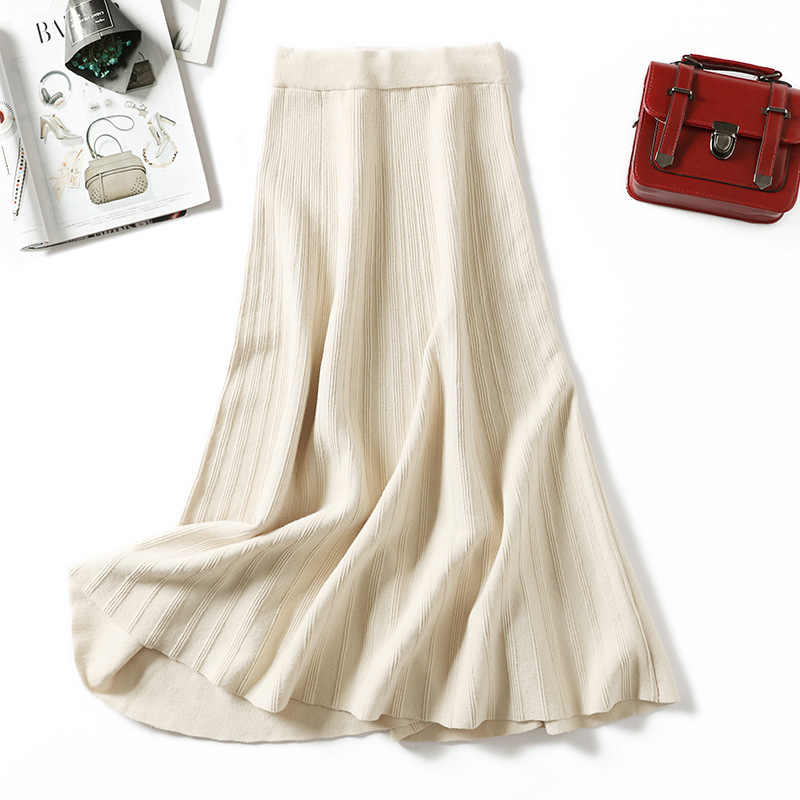 Bella Filosofie Vrouwen gebreide trui rokken gestreepte A-lijn rok hoge taille midi gebreide rok bodems plus size herfst winter