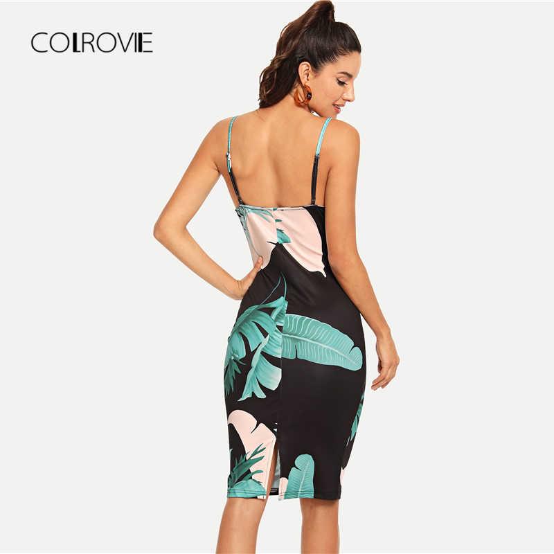 COLROVIE v-образный вырез пальмовый лист принт форма camвечерние I вечернее платье 2018 осень без рукавов пляжное облегающее сексуальное платье женское праздничное платье миди