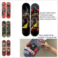 60CM Length Children's Four Wheel Skateboard Double Raised Maple Scooter Cartoon Taxiing Car Chute Board Stability And Security