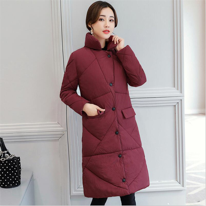 2019 Women Winter Solid Long Coat Thicken Warm OL Turn-Down Collar Cotton Jacket Female Outerwear   Parka   Jacket Plus Size 2XL