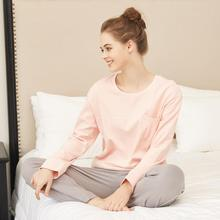 Women  Female Sleepwear Sexy fashion homewear Pajamas Long sleeve cotton Sets Style Suit Home