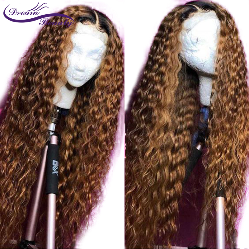 1B/27 Lace Front Human Hair Wigs With Baby Hair Wavy Pre Plucked Ombre Color Brazilian Remy Hair Wigs Bleach Knots Dream Beauty