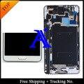 Envío gratis + 100% probado original para Samsung Galaxy note 3 n9005 n900 n900A N900T LCD digitalizador asamblea marco - blanco / gris