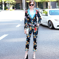 SVORYXIU Autumn Casual Pants Set Women S Long Sleeves Leopard Floral Printed Printed Blazer Ankle Length