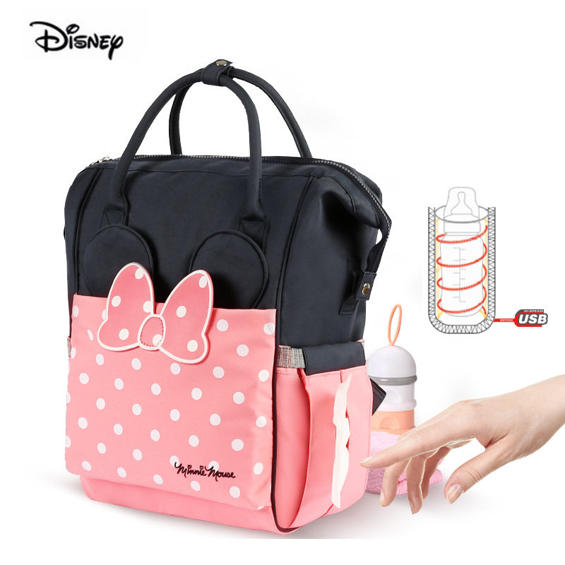 Disney Minnie Fashion Mother Bag Large Capacity USB Heater Insulation Pink Diaper Nappy Backpack Baby Bag