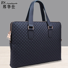 2017 new leather handbag male first layer cowhide business man package cross section men double zipper shoulder briefcase