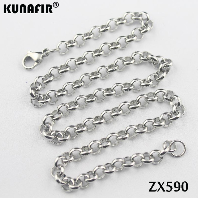 """200 sztuk 16 """"-38"""" długość 6mm duży okrągły rolo link chain 316L naszyjnik ze stali nierdzewnej kobiety mężczyzna mody punk łańcuchy ZX590"""