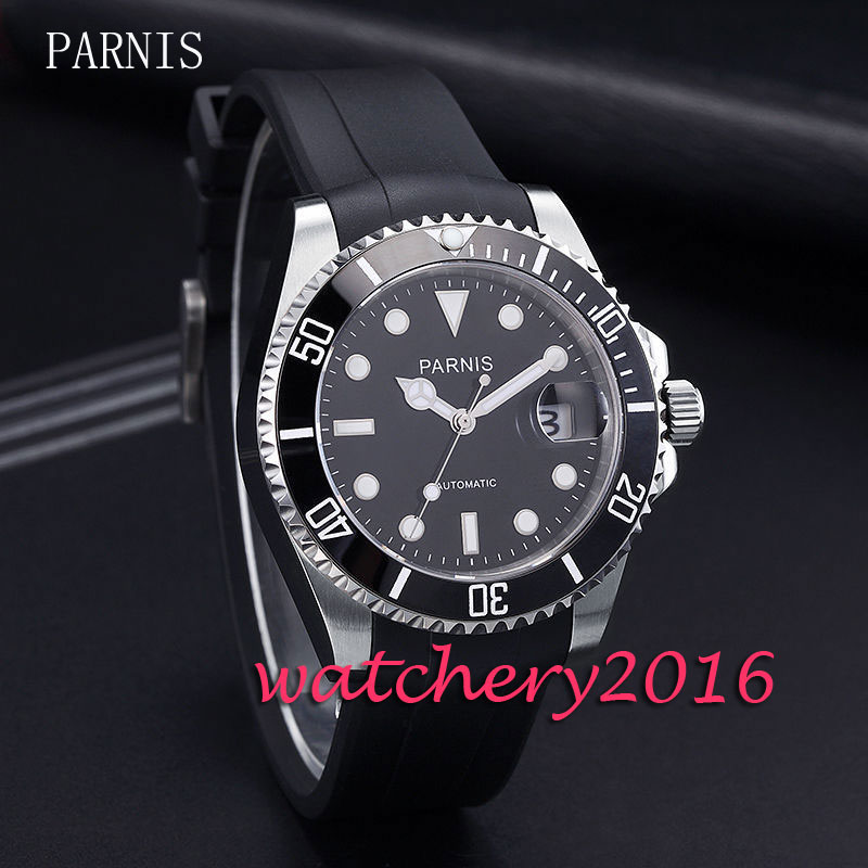 New 40mm Parnis black dial black PVD case luminous marks sapphire glass date adjust miyota Automatic movement Men's Watch japan miyota 40mm pvd case parnis men s watch