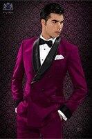 Последние конструкции пальто брюки бордовый Для мужчин Костюмы шалевыми лацканами Slim Fit Формальные пользовательские жених для выпускного 2