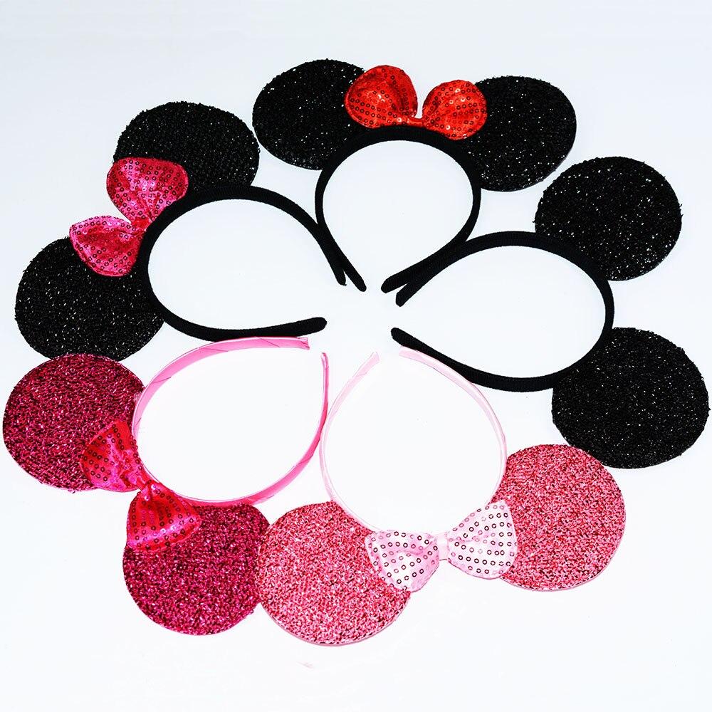 Red Minnie black Mickey ears frog headband 12 pc headbands new design minnie mouse ears Birthday party hairbands decors