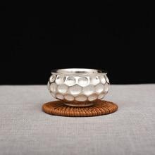 Creative Pure Silver Double-layer Anti-scalding Tea Cup Handmade Foot 999 Household Kungfu set
