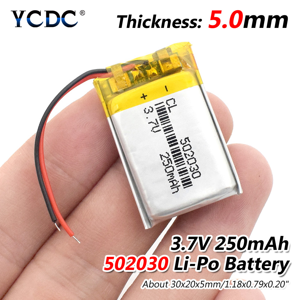 3.7V 250mAh 502030 Lithium Polymer Li-Po Li Ion Rechargeable Battery Lipo Cells For MP3 MP4 Speaker Tachograph Car DVR Camera