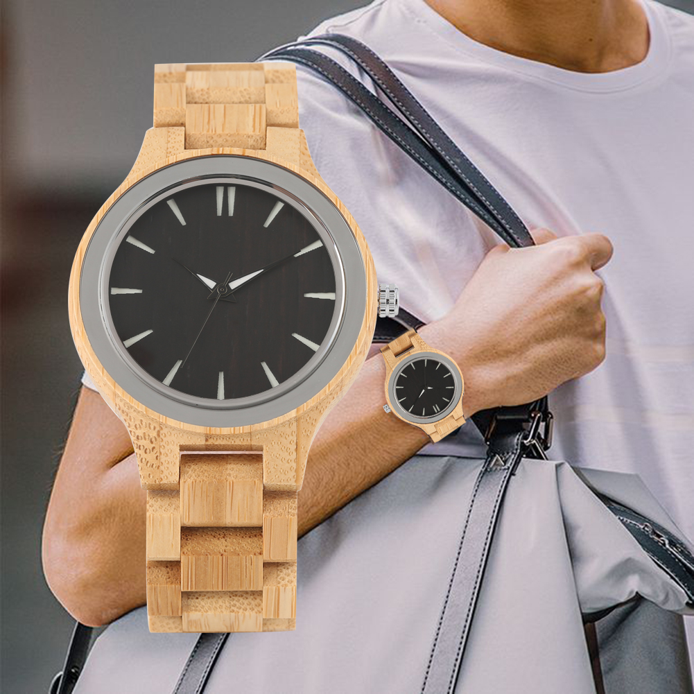Men's Quartz Wooden Wristwatches Wooden Strap Practical Luminous Pointers Wooden Watch(China)