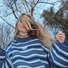 Женский хлопковый пуловер в полоску длинный стиле Харадзюку