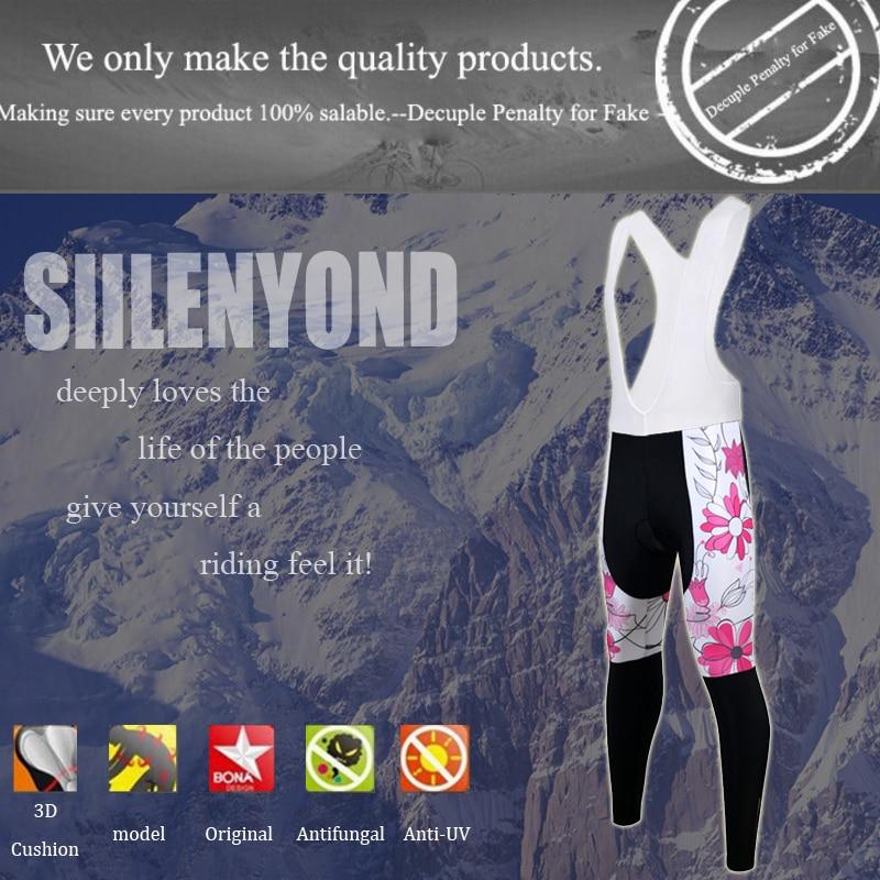 Siilenyond 2019 Women Cycling Bib Pants Pro Winter Coolmax 3D Gel Padded  Keep Warm Mountain Bicycle Cycling Bib Trousers 2