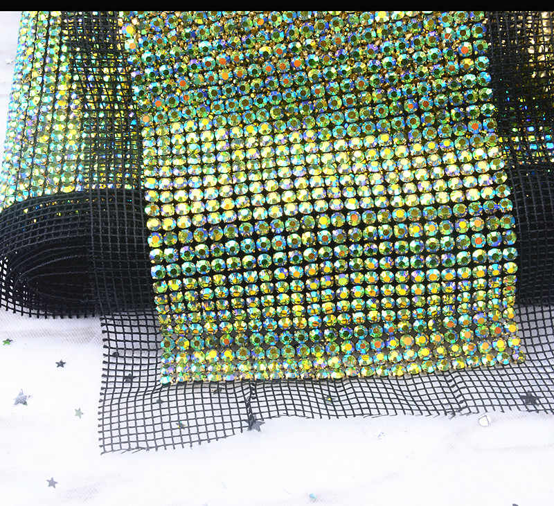 a524a36d17 free shipping 24 rows green AB Crystal rhinestone mesh trimming chain  Silver base White black fabric DIY sewing lace 5yards/roll