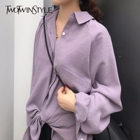 TWOTWINSTYLE Basic Shirt Top Summer Lapel Collar Batwing Sleeve Big Size Purple Blouse Female 2018 Fashion Vintage Clothing