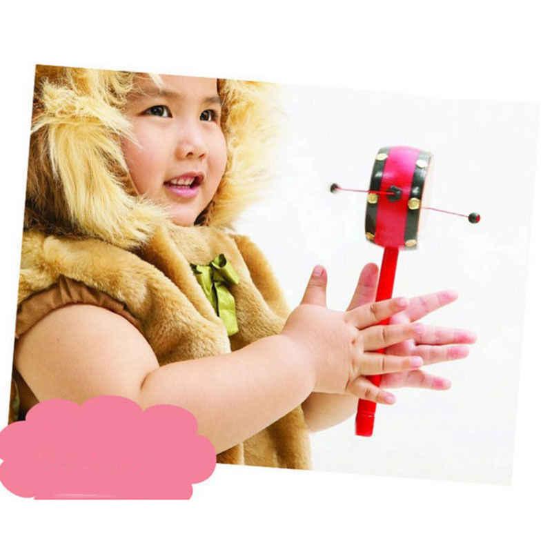 Precioso antiguo chino tradicional niño y niña de la suerte bendecido mancuerna sonajero juguete para bebé niños sonajero tambor instrumento Musical