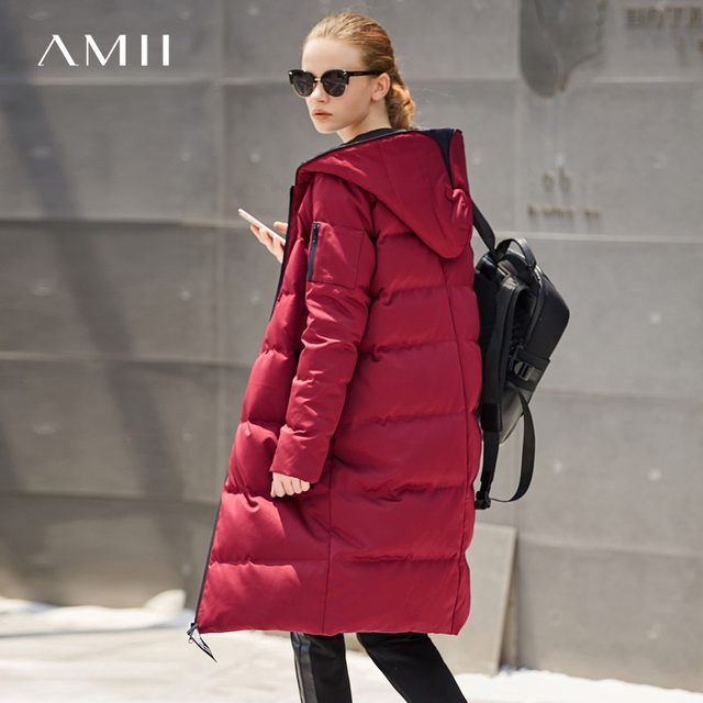 Amii Women 2018 Winter Print Letter 90% White Duck Down Coat Hoodies Female Fashion Light Jacket Coats