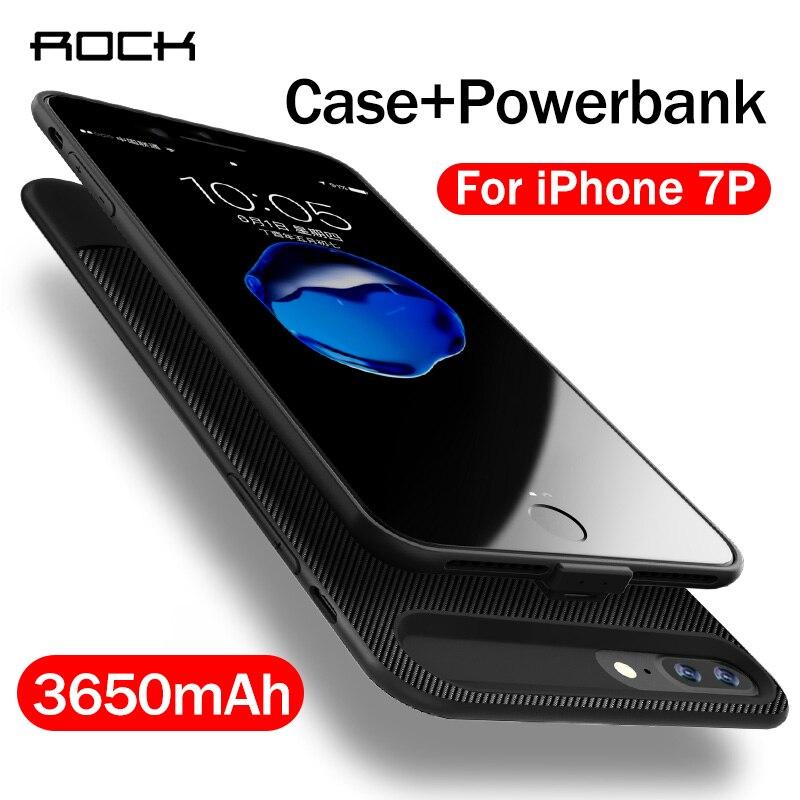 Rocha 3650mah voltar clipe caso carregador de bateria para iphone 7 plus 5.5 polegada de volta caso de energia de carregamento capa do telefone