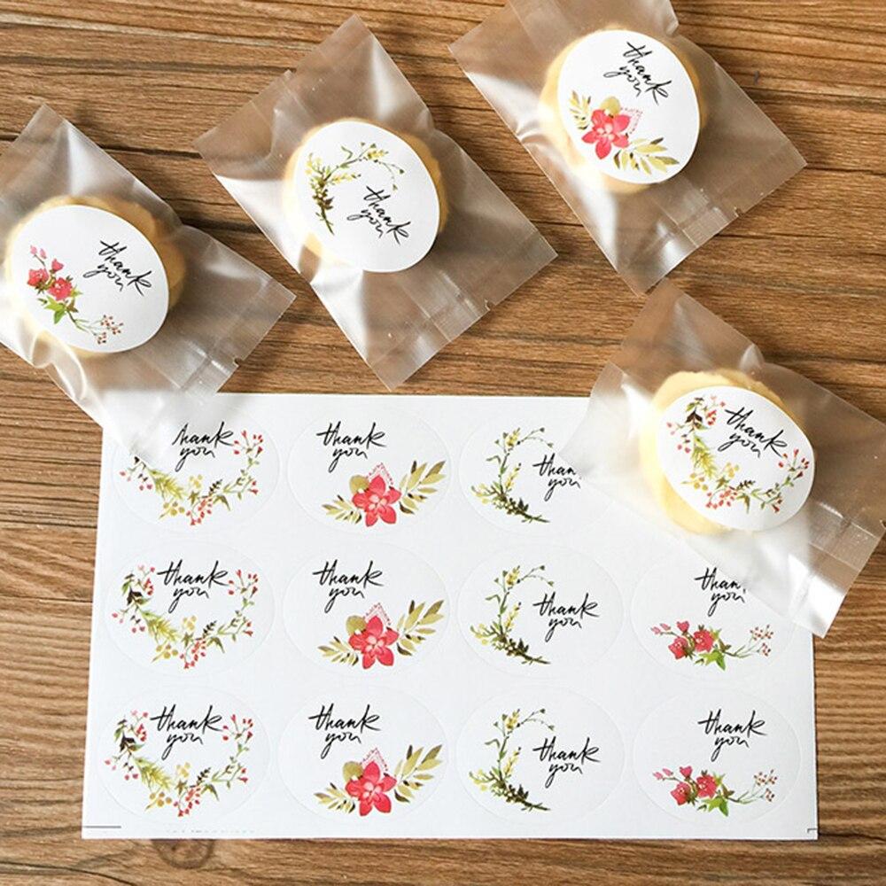 60pcs Vintage Flower Thank You Ellipse Sealing Label Adhesive Kraft Seal Sticker For Baking Gift Stickers DIY