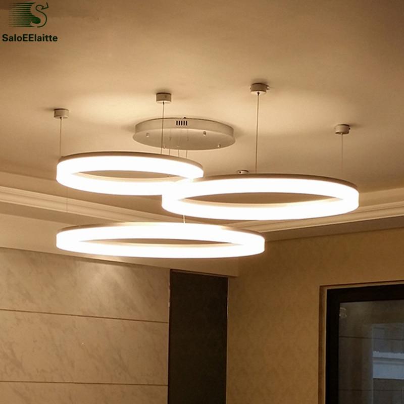 Moderní minimalistický akrylový kroužek stmívatelný LED lustr světelný DIY nastavitelný hliníkový LED stropní lustr