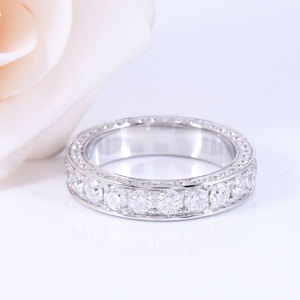 Image 3 - DovEggs 14K 585 White Gold 3 CTW FG Color Lab Grown Moissanite Wedding Band With Moissanite Accents for Women