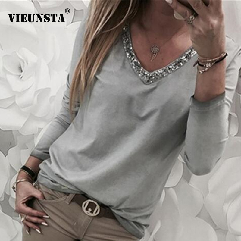 VIEUNSTA New Women Sexy V Neck Sequins Blouse Shirt 2019 Summer Spring Long Sleeve Female Tops Solid Casual Blusas Plus Size 5XL