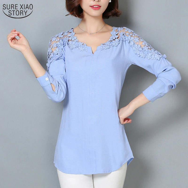 2018 New Camisas Femininas Lace Sleeve   Blouse     Shirt   Women V-Neck Floral Lace Sexy Casual Linen   Shirts   Plus Size Lady   Shirt   185B