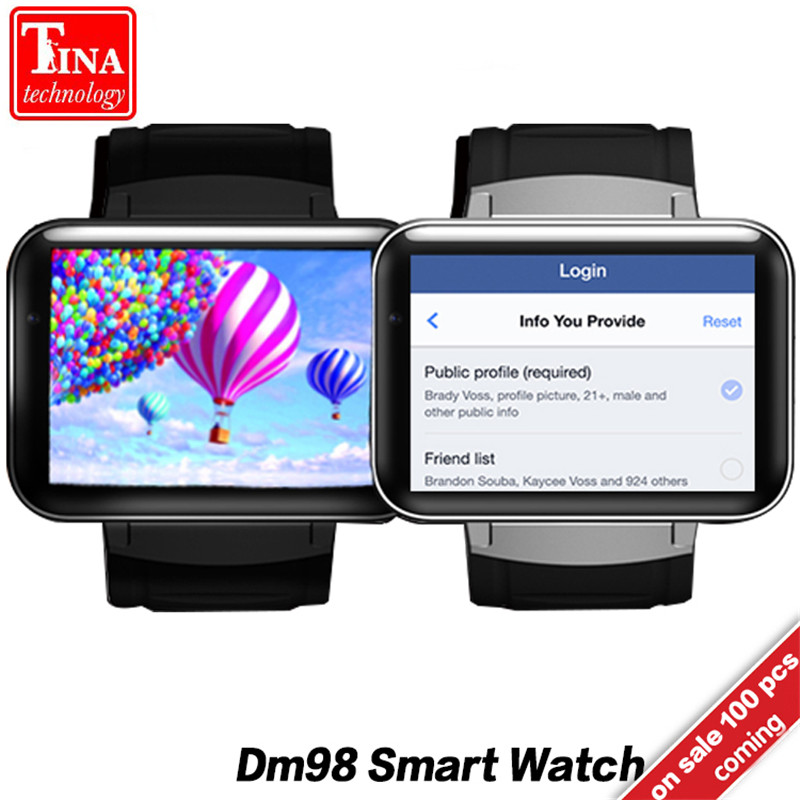 DM98 Смарт-часы MTK6572 2,2 дюймов Экран 900 мАч Батарея 512 МБ оперативной памяти 4 ГБ Rom ОС Android 3G WCDMA GPS WI-FI Smartwatch наличии