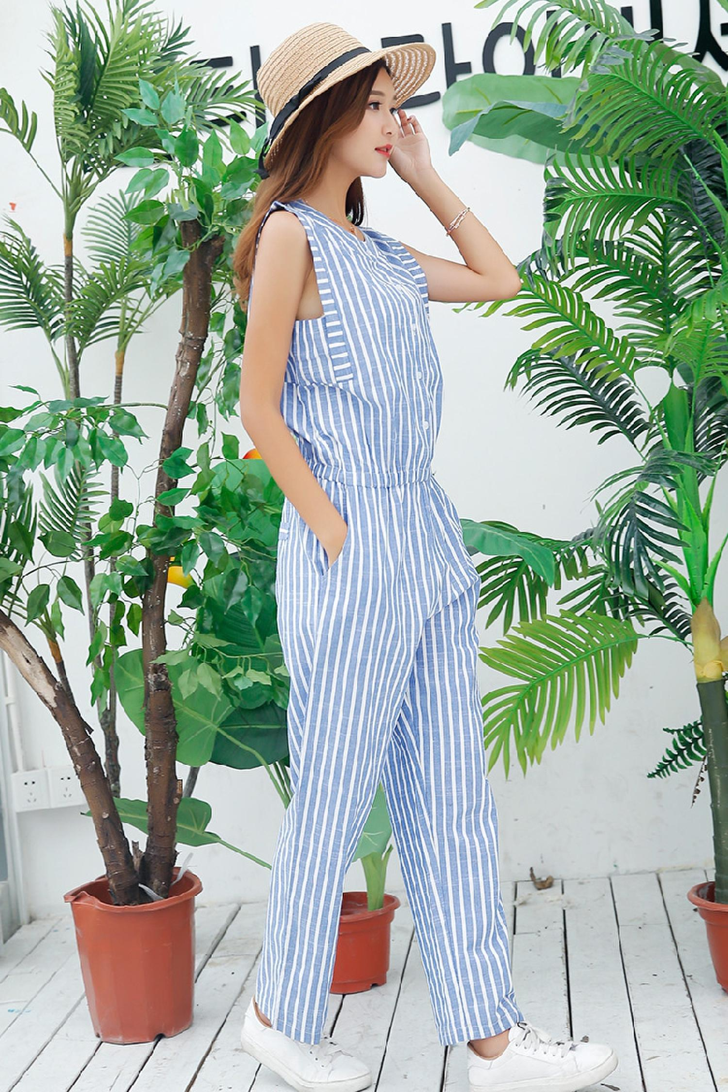 Pengpious 2019 summer fashion jumpsuit for young ladies cotton linen jumpsuit school girls sleeveless design striped