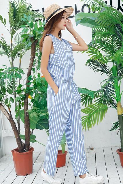 8527263d497 US $18.29 55% OFF Pengpious 2019 zomer mode jumpsuit voor jonge dames  katoen linnen jumpsuit school meisjes mouwloze ontwerp gestreepte  rompertjes in ...