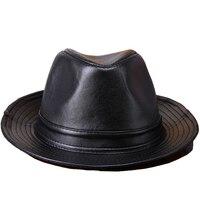 autumn winter Large brimmed hat stylish leather sheep skin leather hat men fedora unisex street cool Cowboy hat hio hop 3 color